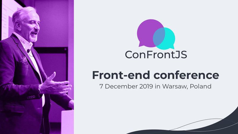 Grafika zawierająca zdjęcie z prelegentem z konferencji oraz tekstem Front-End conference oraz logo konferencji