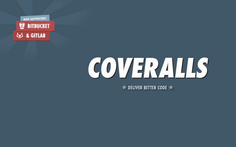 Grafika z Logotypem coveralls oraz etykietami GitLab or BitBucket