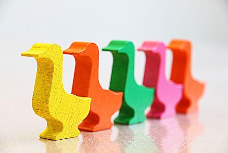 Drewniane, kolorowe, stylizowane kaczki ustawione w kolejce