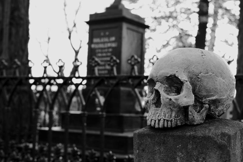 Zdjęcie czaszki na cmentarzu