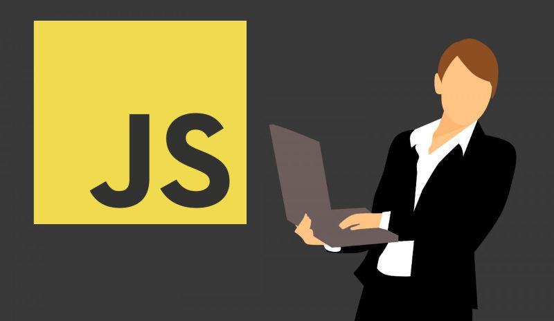 Grafika wektorowa przedstawiająca osobę z laptopem i logo JavaScript